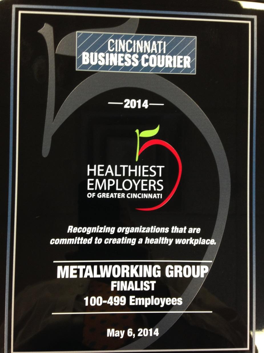 Healthiest Employers of Cincinnati Award - MetalWorking Group