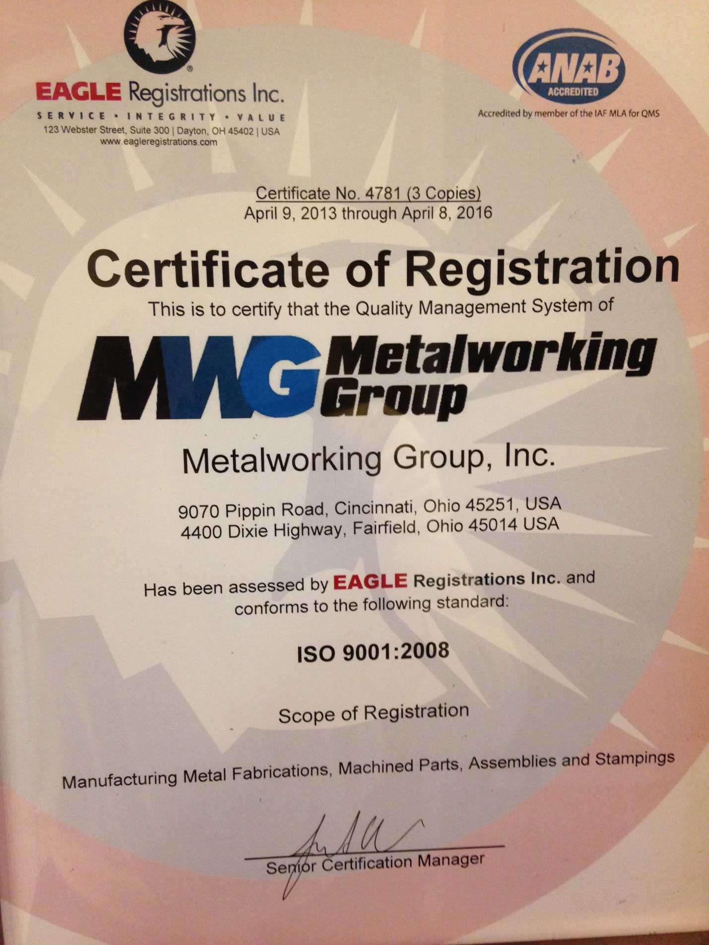 Metal Working Group ISO Certification